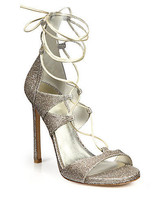 Stuart Weitzman Legwrap Lame Nappa Goose Bump Lace Up Sandals Size 5-5.5M  D2605 - $200.00