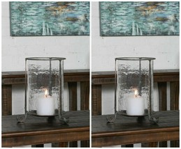 "Two Spanish Mission Xxl 14"" Aged Meta Hammered Glass Candle Holder Uttermost - $303.60"