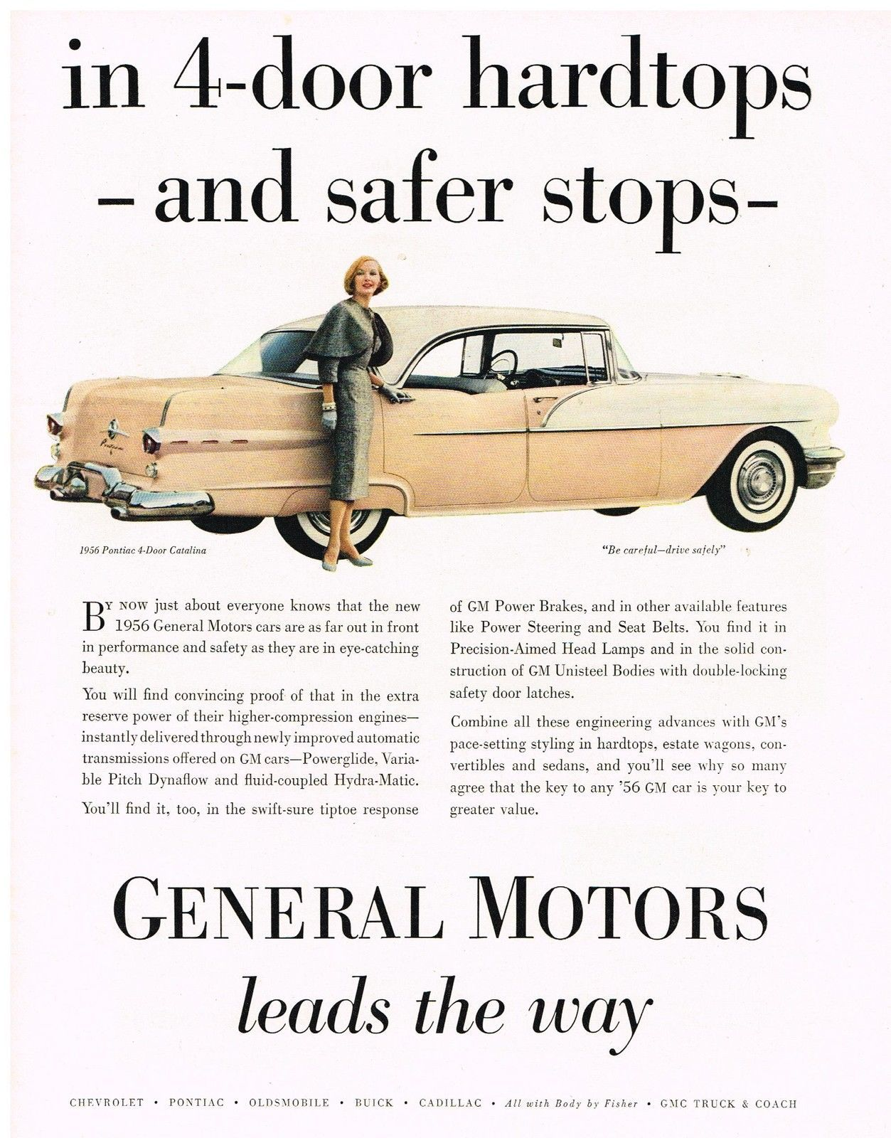 Vintage 1956 Magazine Ad Pontiac Far Out Front In Performance Safety & Beauty - $5.93