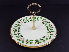 """LENOX China Holiday Dimension Round Tidbit Plate with Handle 8-1/4"""" Dinnerware image 2"""