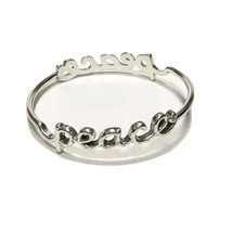 Brighton PEACE Bangle Bracelet Retired Cursive Script Love Heart Rhinestone - $32.71