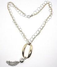 Halskette Silber 925, Doppel Kette Rolo, Weiß und Gelb, Oval Fransen, An... - $183.64