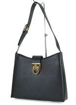 Auth SALVATORE FERRAGAMO Gancini Black Leather Shoulder Bag Purse #25528 - $359.00