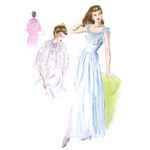 1940s Vintage Vogue Sewing Pattern 6597 Misses Nightgown Negligee Cape 1... - $39.95