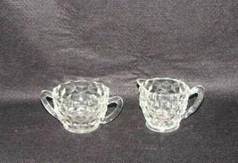 Vintage Jeanette Glass Clear Cubist Pattern Sugar Bowl & Creamer - $29.68