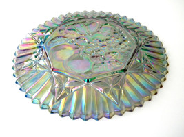 Vintage Blue Carnival Glass Serving Plate by Indiana Glass Grape and Fruit  - $48.42