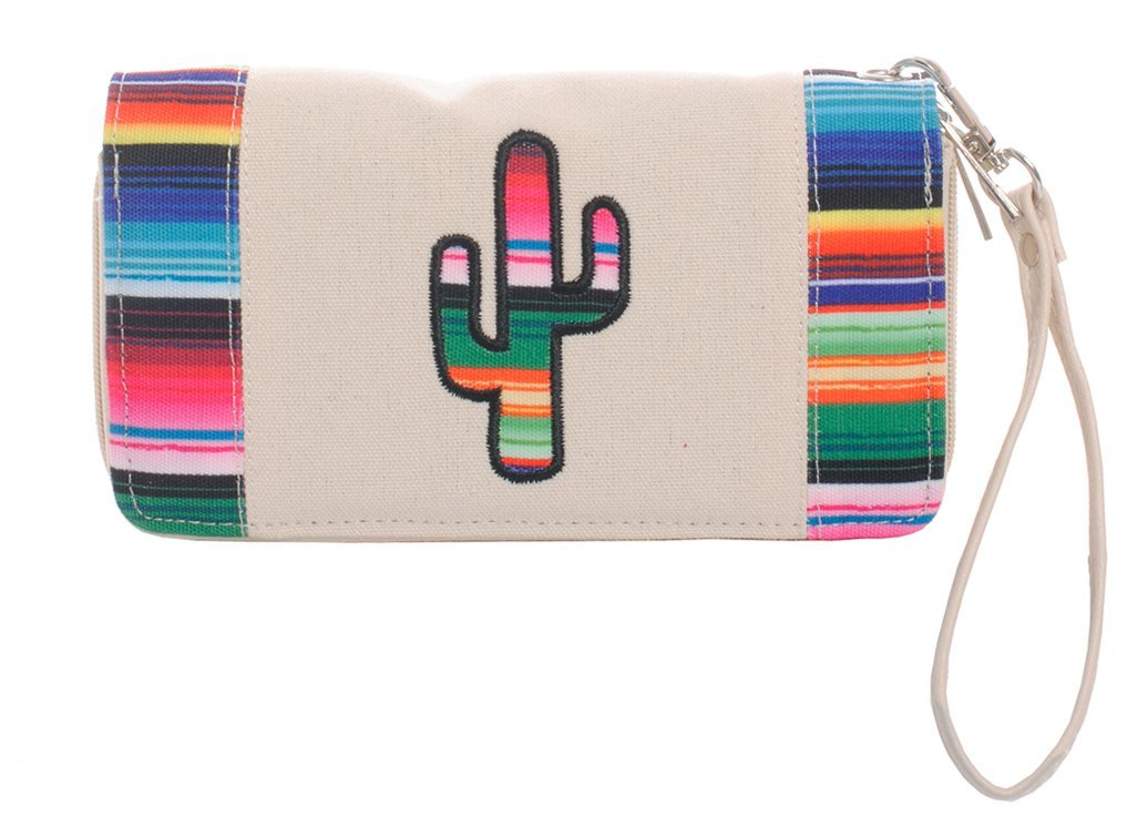 Striped Cactus Wallet Wristlet Clutch Purse (Ivory)
