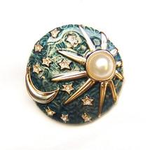 Brooch Sun Moon Star Green Gold Silver Fairytale Fantasy Unisex Men Suit Pin - $8.99