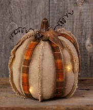 """NEW!! Primitive Country LED w/timer 10"""" Pumpkin Fall Autumn Decor Rustic  - $23.71"""