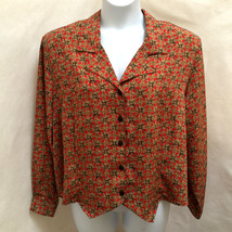 Notations 22W Top Red Brown Geometric Button Down Tie Back Plus Size Shirt - $19.58