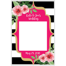 Black and White Striped Floral Selfie Frame Photo Booth Social Media Prop Poster - $16.34+