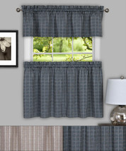 "Sydney Plaid Decorative Kitchen Window Curtain 24"" Tiers & Valance Set - $24.19"