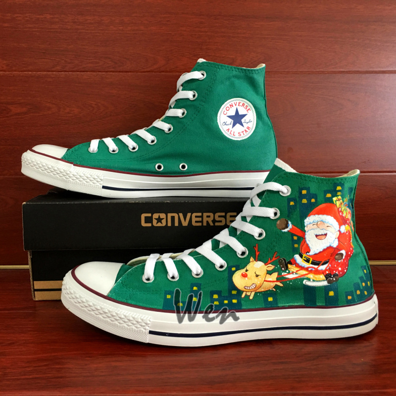 Santa Claus Reindeer Christmas Design Converse All Star Hand Painted Shoes Green
