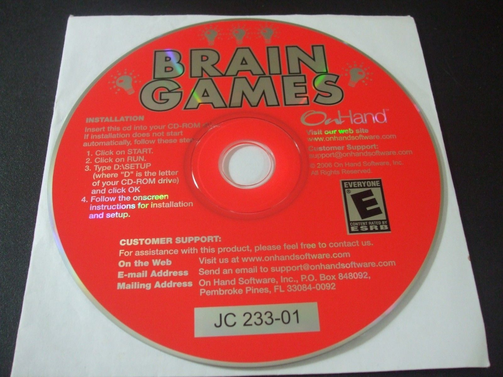 Primary image for Brain Games (PC, 2006) - Disc Only!!!