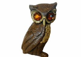 Owl Figurine Rhinestone eyes gem Great Horned Bird ceramic Sculpture sta... - $39.55