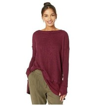 Free People Women North Shore Thermal Waffle Knit Long Sleeve Top Slit H... - $36.54