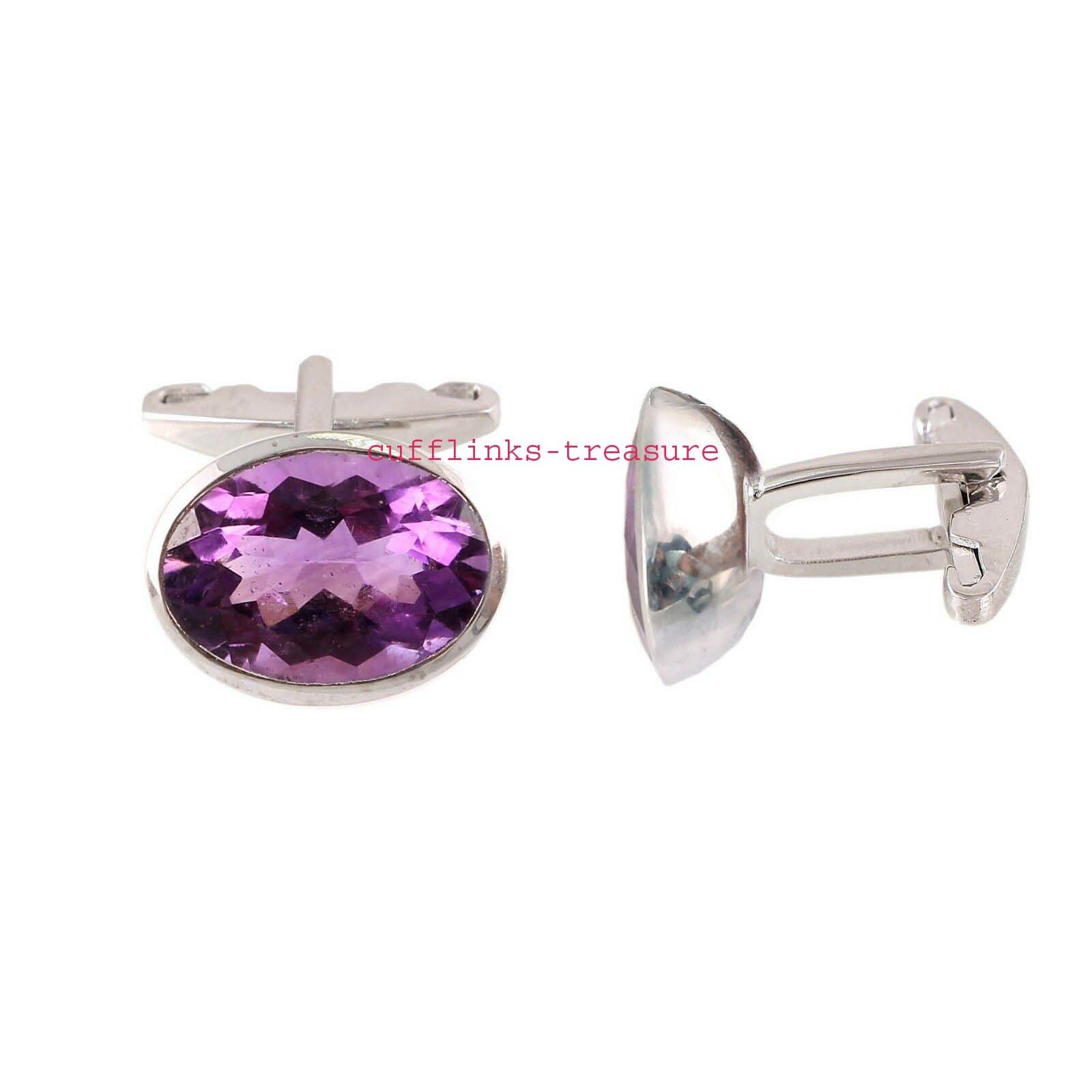 Natural Amethyst  Gemstones With 925 Sterling Silver Cufflinks for men's - $85.00