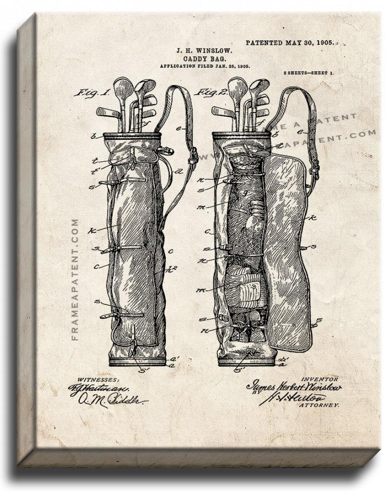 Primary image for Golf Caddy Bag Patent Print Old Look on Canvas