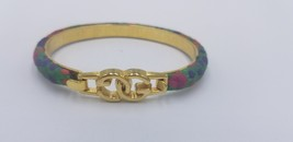 Vintage Gucci 24K Gold Plated Multi Color Floral Bracelet Made In Italy - $87.22