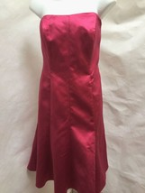 Davids Bridal 10 Dress Pink Satin Strapless Flare Mermaid Holiday Brides... - $34.28