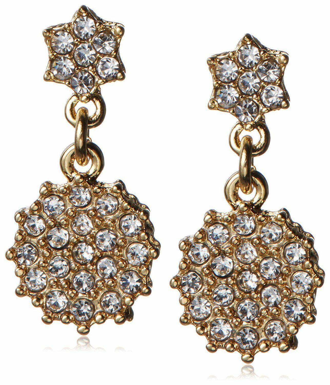 Fragments Oro Chapado Pavé Circonita Cúbica Cristal Floral Gota Pendientes Nwt