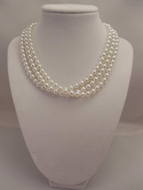 Elegant, Three Strand, Half Twisted Necklace with 6mm White Glass Pearl ... - $42.00
