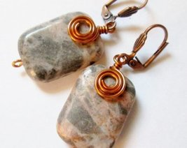 Red Copper and Pink Zebra Jasper Earrings - Handmade Jewelry, Handmade E... - $12.00