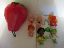 """Vintage 4 Strawberry Shortcake 1979 - 1980 5"""" Dolls & Strawberry Case - $14.84"""