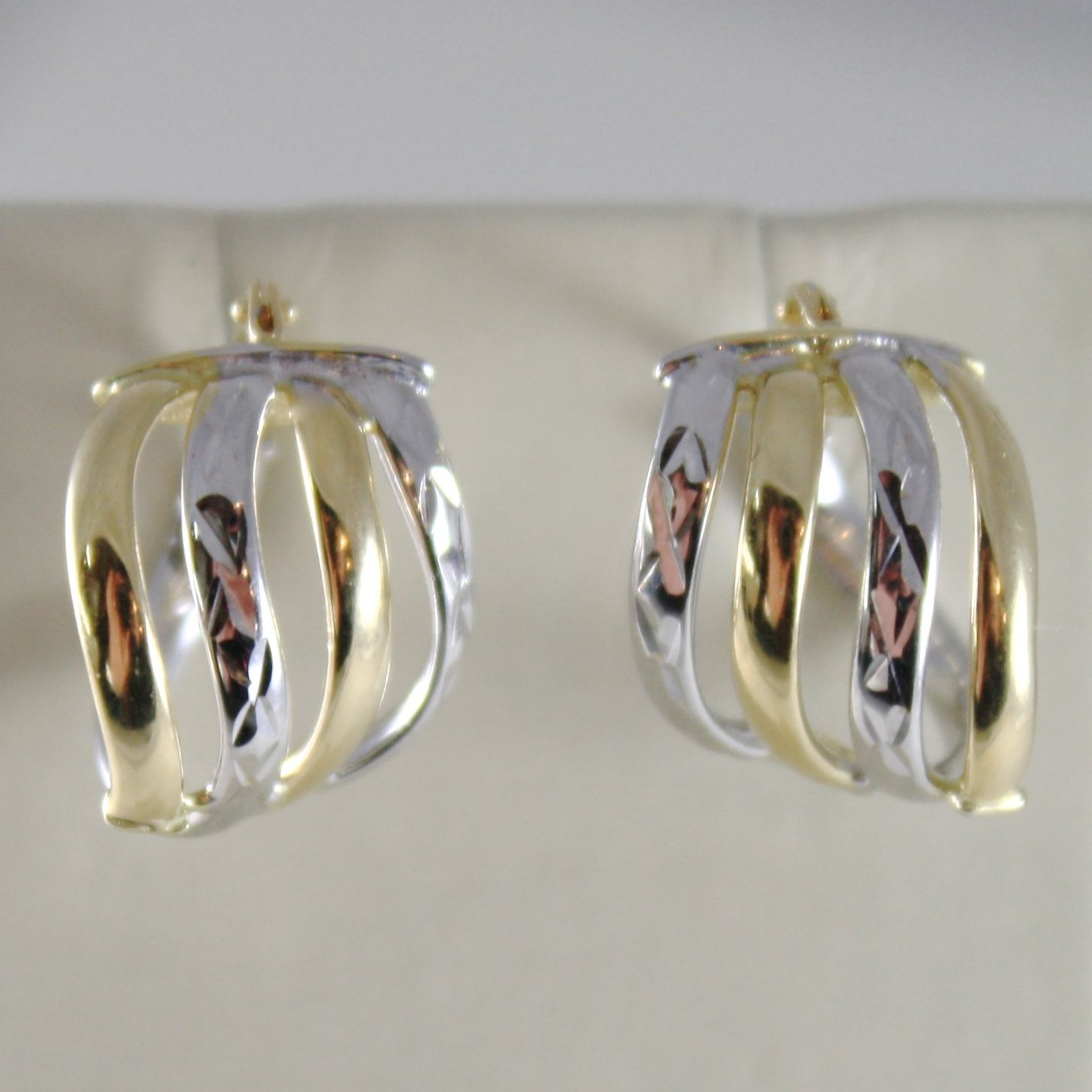 BOUCLES D'OREILLES OR BLANC JAUNE 750 18K CERCLE, VAGUE ALTERNÉ, USINÉ, ITALIE
