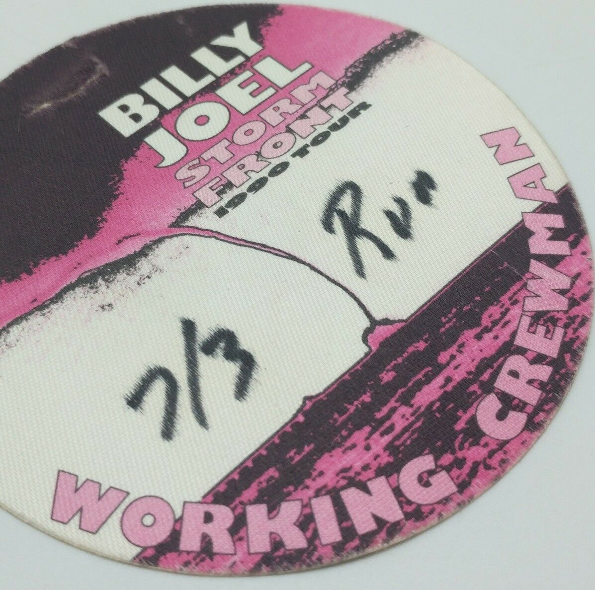 Billy Joel Storm Front 1990 Tour Working Crew Badge Canvas Sticker Rare image 3