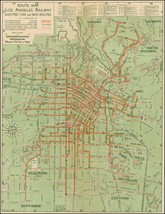 Route Map Los Angeles Railway Electric Car and Bus Routes 1938 pictorial... - $15.84