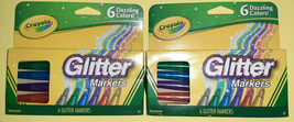 2 Packs of Crayola Glitter Markers, Assorted Colors, Gift, 6 Count NEW - $11.83