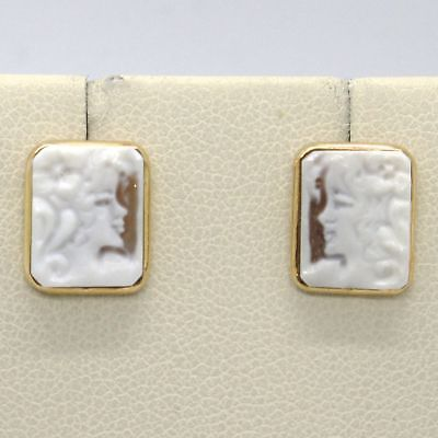 YELLOW GOLD EARRINGS 18K 750 WITH CAMEO CAMEO SHELL MADE IN ITALY