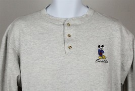 Mickey Mouse Seattle Men's Cotton Long-Sleeve Henley Size L - $16.82