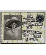 ACEO ATC Art Card Original Collage Turn Clocks Back Turning Mine When 20 - $5.00