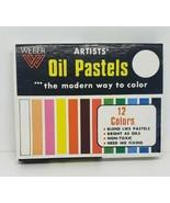 Vintage Weber Oil Pastels Set UNUSED 12 colors ORIGINAL OPEN BOX NO 502334 - $19.97
