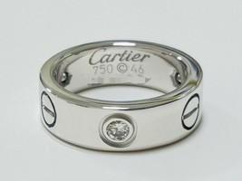Cartier K18WG Love Ring US3.5-4 Used Excellent++ Half Diamond 3P Diamond... - $1,218.26
