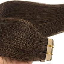 GOO GOO Tape in Hair Extensions Chocolate Brown Silky Straight Real Human Hair E image 5