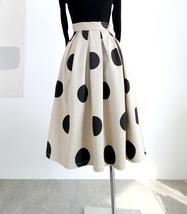 Fall Polka Dot Pleated Skirt Women Polka Dot Party Skirt Outfit,Khaki,Plus Size  image 4
