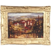 DOLLHOUSE Framed Picture of Old World Village Miniature #2 - $7.47