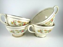 Vintage Homer Laughlin Tea Cups Floral Pattern Silver Trim Set of 4  - $15.84