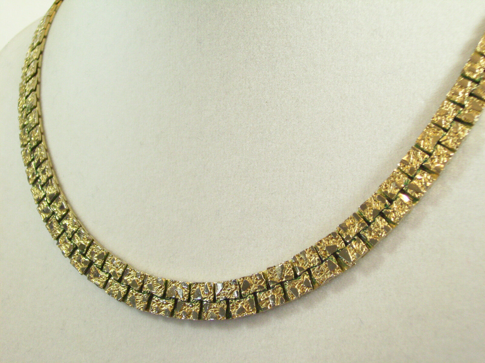 Gold NUGGET Style Link Necklace Plated Chain Vintage Classic Office Career image 5