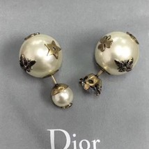 AUTH Christian Diorl Earrings DIOR TRIBALES PEARL Crystal Multi Charm Star Gold  image 5