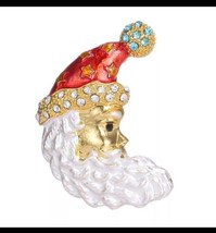 Stunning Gold Plated Elegant Christmas Santa Claus Brooch Cake Pin B17 Broach - $10.05