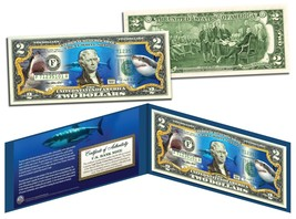 GREAT WHITE SHARK Collectible Legal Tender US Colorized $2 Bill w/Folio ... - $13.81