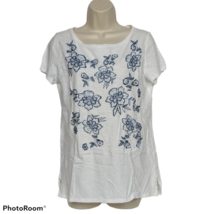 LOFT Womens Blouse Top Small White Floral Embroidered Boat Neck Short Sl... - $17.82