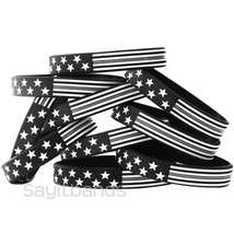 Flag thin GRAY line wristbands - Wholesale lot Correction Bands choose q... - $5.82+