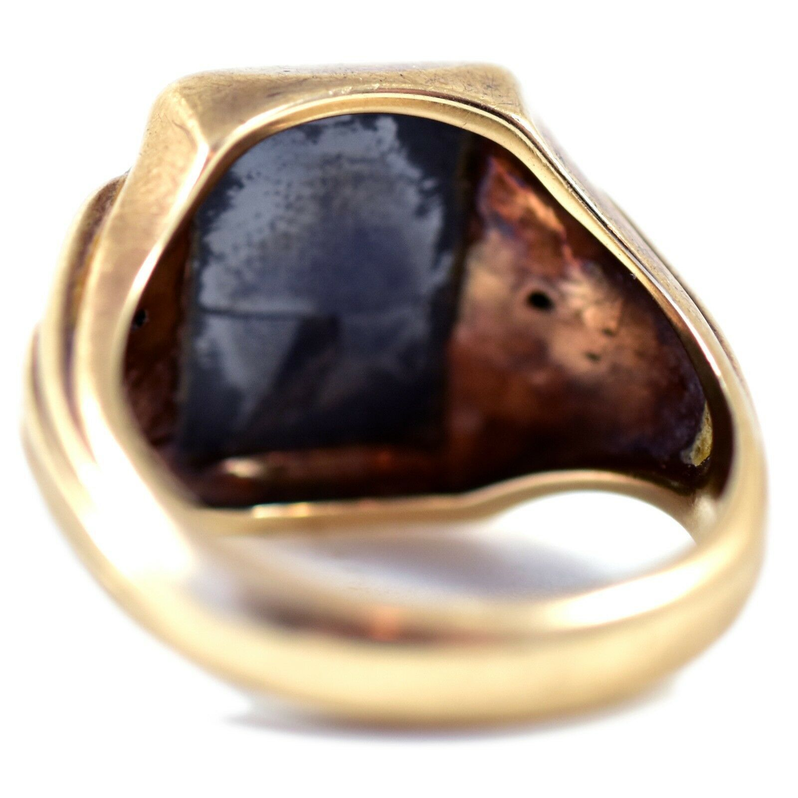 Royal 10k Solid Yellow Gold Hematite Roman Bust with Diamond Accents Ring 10.5