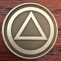 Circle Triangle Serenity Prayer Bronze Recovery Medallion Coin Chip AA - $2.99