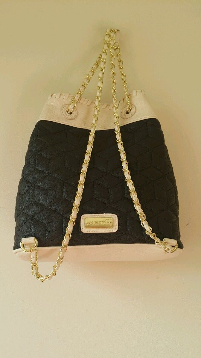 NWT Big Buddha Blk/Cream Gold Tone Chains Ladies Backpack BBO09505 image 4